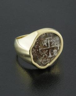 spanish half real cob coin ring