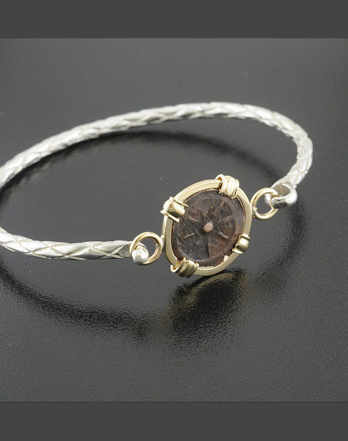 ancient widow's mite coin bracelet