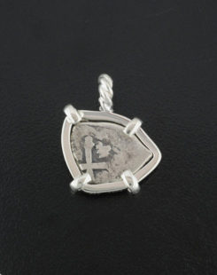 spanish half real cob coin pendant