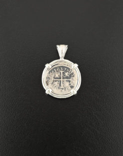 spanish half real coin pendant