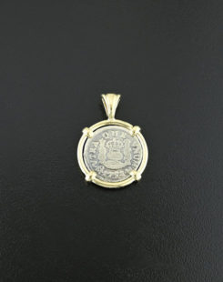 spanish pillar coin pendant