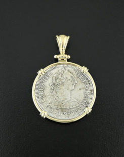 spanish bust coin pendant
