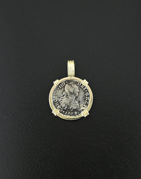 spanish bust coin pendant