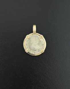 spanish chile half real coin pendant