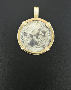 spanish two real bust coin pendant