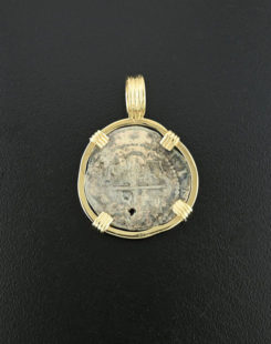 spanish one real cob cross type coin pendant