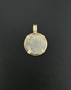 spanish hafl real bust coin pendant