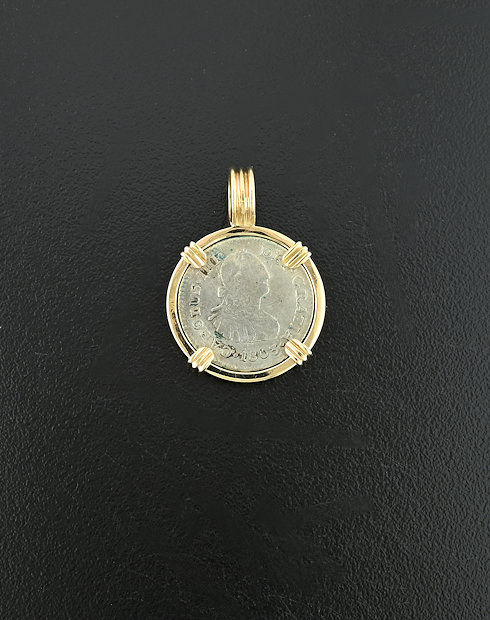 spanish hafl real bust coin pendant
