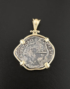 spanish cob four reales coin pendant