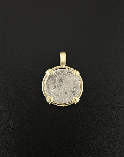 half real spanish bust coin pendant