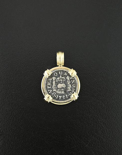 spanish pillar half real coin pendant