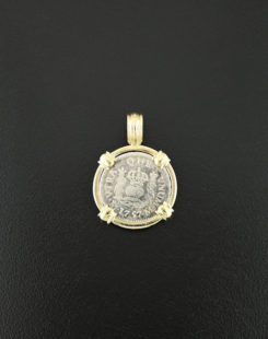 spanish pillar coin pendant half real