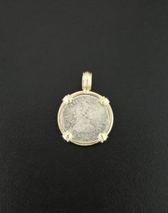 spanish bbust shipwreck el cazador coin pendant