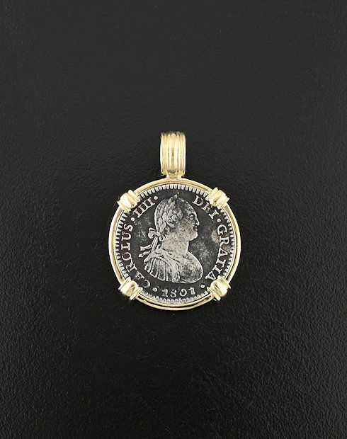 spanish bust one real coin pendant