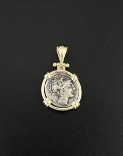 ancient greek denarius coin pendant