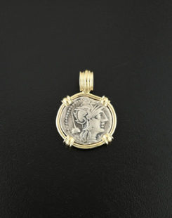 ancient greek denarius coin pendant
