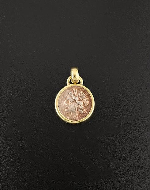 ancient greek quarter shekel coin pendant