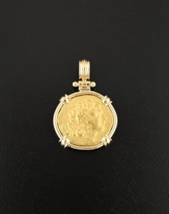 ancient greek stater gold coin pendant
