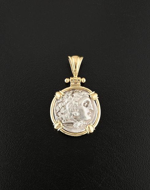 ancient greek drachm coin gold pendant