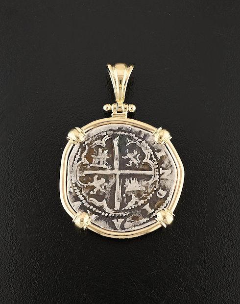 spanish cob coin pendant