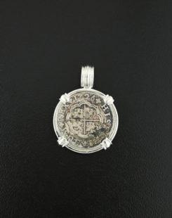 spanish cross coin pendant