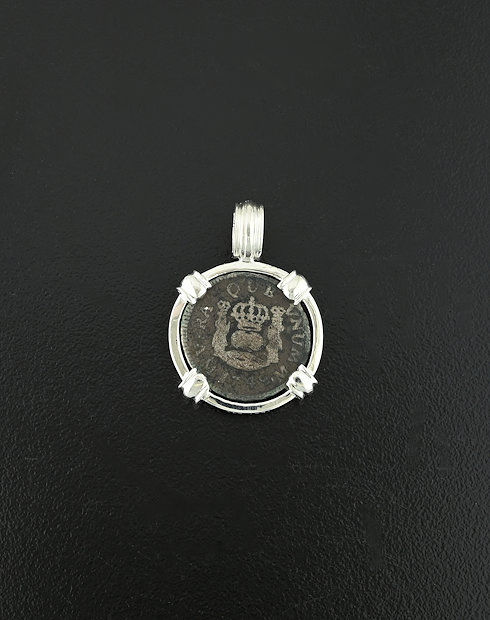 spanish half real pillar coin pendant