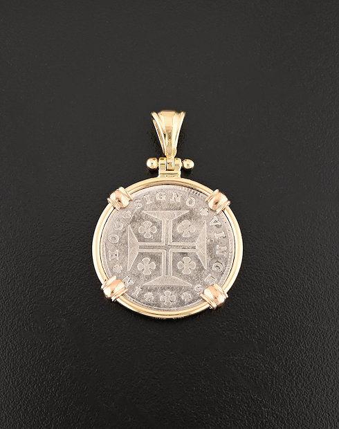 portuguese old world coin pendant