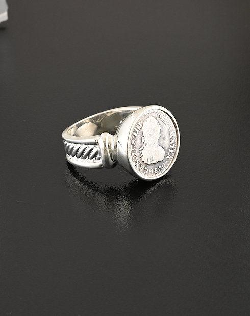 spanish bust half real ring