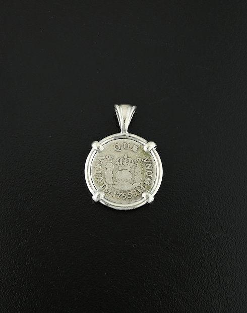 spanish pillar coin pendant
