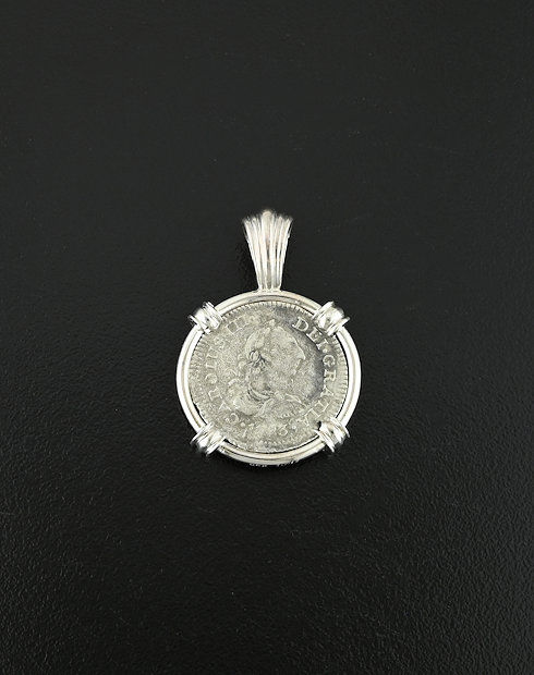 shipwreck half real coin pendant