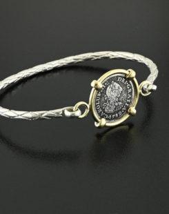 spanish half real bust coin bracelet