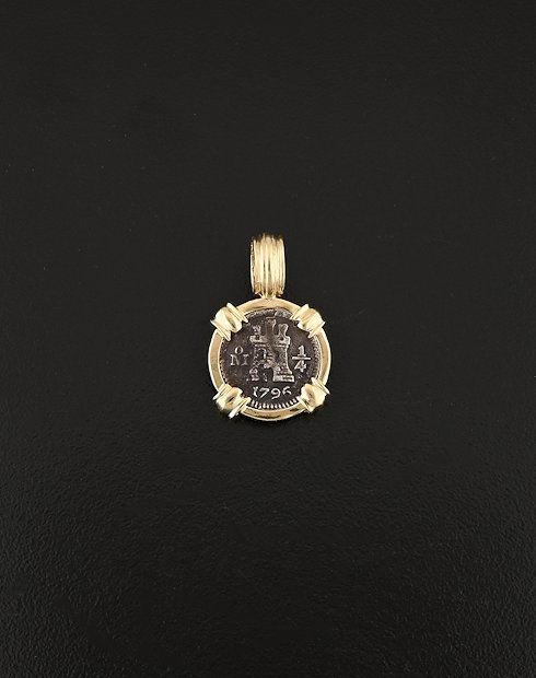 spanish quartilla one quarter real coin pendant