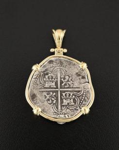 spanish cob four reales coin pendant