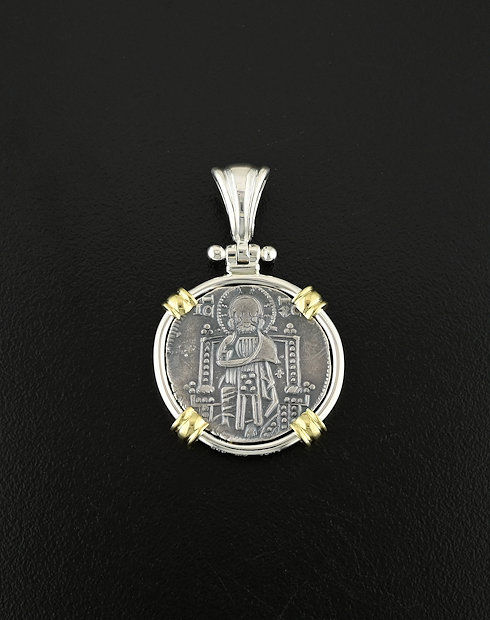 medieval grosso coin pendant