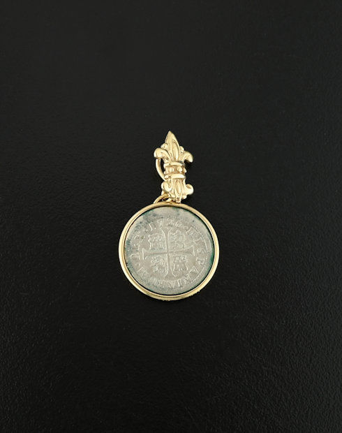 spanish cross half real coin pendant
