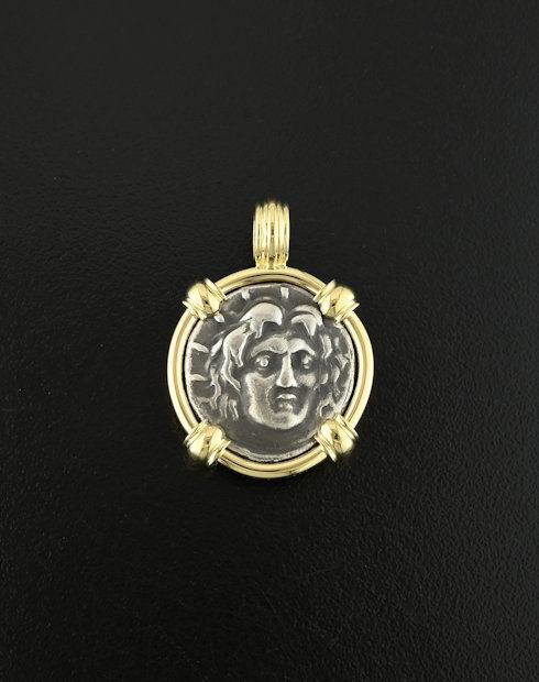 ancient greek didrachm coin pendant