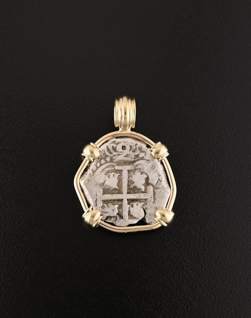 spanish cob two reales coin pendant