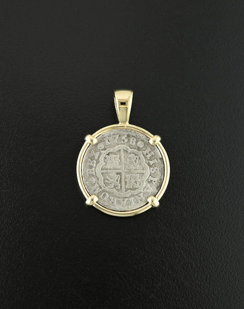 spanish cross coin pendant