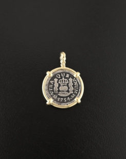 spanish pillar half real coin pendant