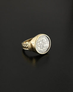 spanish cross half real coin ring
