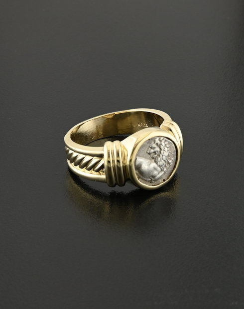 ancient greek hemidrachm coin ring
