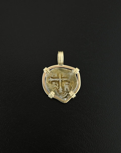 spanish cob half real coin pendant