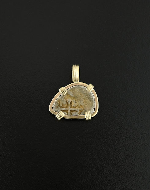 spanish cob half real coin pendant