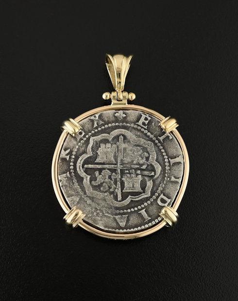 spanish cob four reales cin pendant