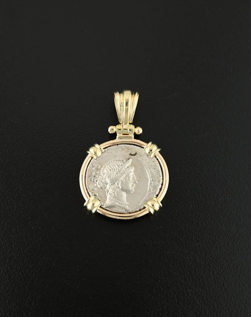 roman republic denarius coin pendant