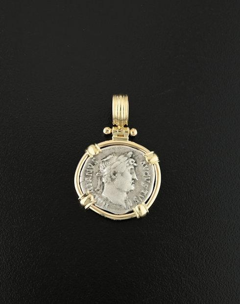 roma imperial denarius coin pendant