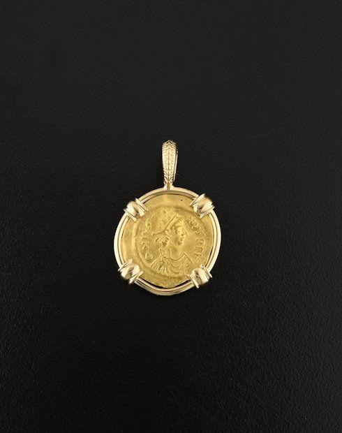 byzantine tremissis coin pendant