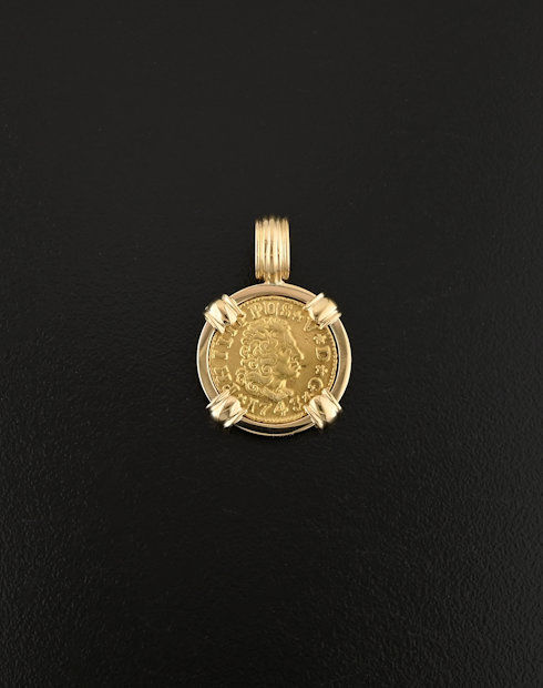 spanish bust half escudo coin pendant
