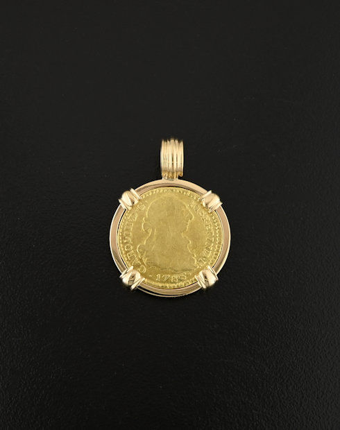 spanish bust one escudo coin pendant