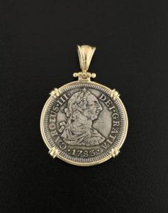 shipwreck el cazador two reales coin pendant